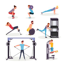 Sport Exercises Flat Vector Illustrations Set. Cheerful Young Sportsmen And Sportswomen Working Out Cartoon Characters. Fitness Center, Gym Workout, Arms, Legs And Back Muscles Physical Training