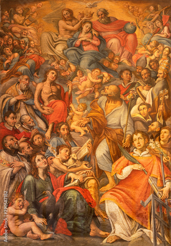 ACIREALE, ITALY - APRIL 11, 2018: The painting of Coronation of Virgin Mary among the saints in Basilica Collegiata di San Sebastiano by Matteo Ragonisi (1660-1734).