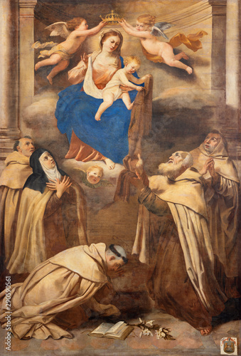 TAORMINA, ITALY - APRIL 9, 2018: The symbolic painting Madonna among the Carmelitan saints in church Chiesa di Santa Caterina d'Alessandria by unknown artist.