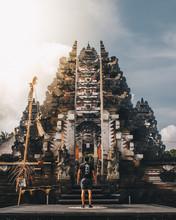 Man Facing At Historic Temple ...