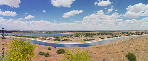 Photo Panoramic image looking east of Palmdale in Los Angeles county showing the California aqueduct in the foreground