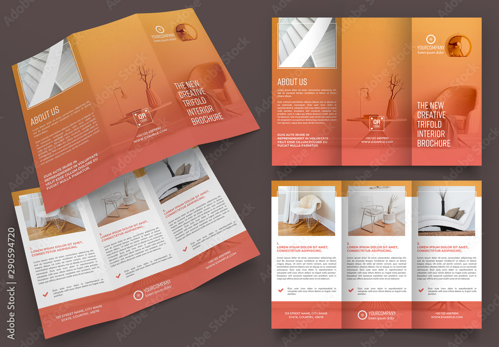 Fototapeta Trifold Brochure Layout with Orange Gradients