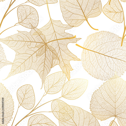 Fototapeten Künstlich Seamless pattern with leaves.Vector illustration.