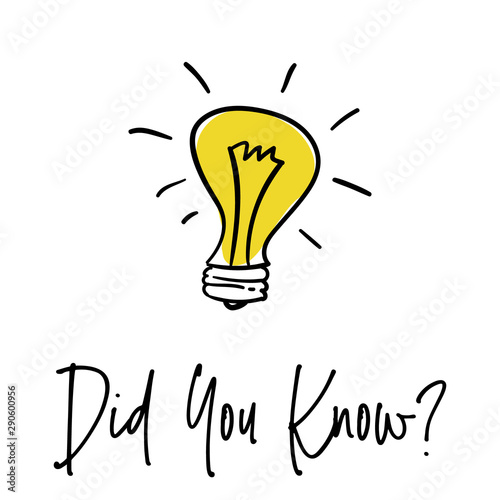 Obraz Did You Know with Bulb Icon. did you know hand drawn text with bulb. Vector Illustration - fototapety do salonu