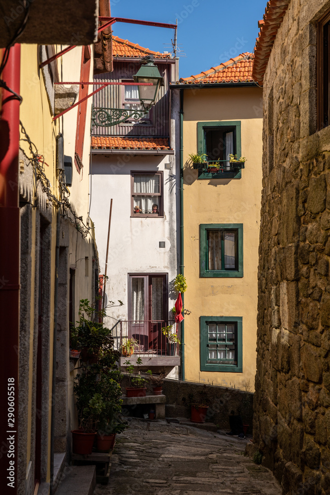 Narrow cobbled streets lead to homes and apartments in the old town of Porto