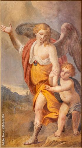MENAGGIO, ITALY - MAY 8, 2015: The fresco of Guardian angel in church chiesa di Santo Stefano by Luigi Tagliaferri (1841-1927).