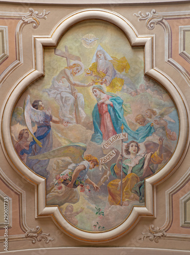 BELAGGIO, ITALY - MAY 10, 2015: The fresco of Corronation of Virgin Mary in church Santa Maria Annunciata (Visgnola) by Luigi Morgari from 20. cent.