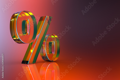 Fotografia  Percent sign. 3d Rendering with HDR quality