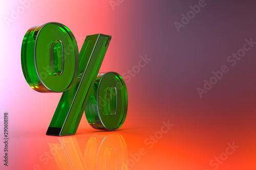 Percent sign. 3d Rendering with HDR quality Fototapeta