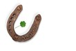 canvas print picture Metal horseshoe and clover leaf isolated on white background