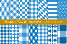 Oktoberfest Vector Patterns In Bavarian Blue And White Lozenge, Diamond, Harlequin, Stripes, Checks And Gingham. Traditional German Folk Festival Backgrounds. Pattern Tile Swatches Included.