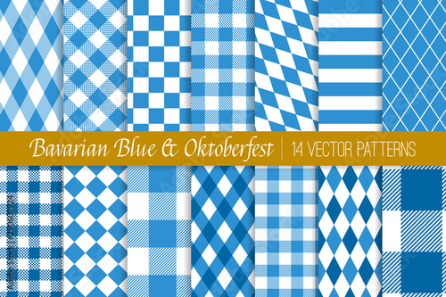 Oktoberfest Vector Patterns in Bavarian Blue and White Lozenge, Diamond, Harlequin, Stripes, Checks and Gingham Canvas Print