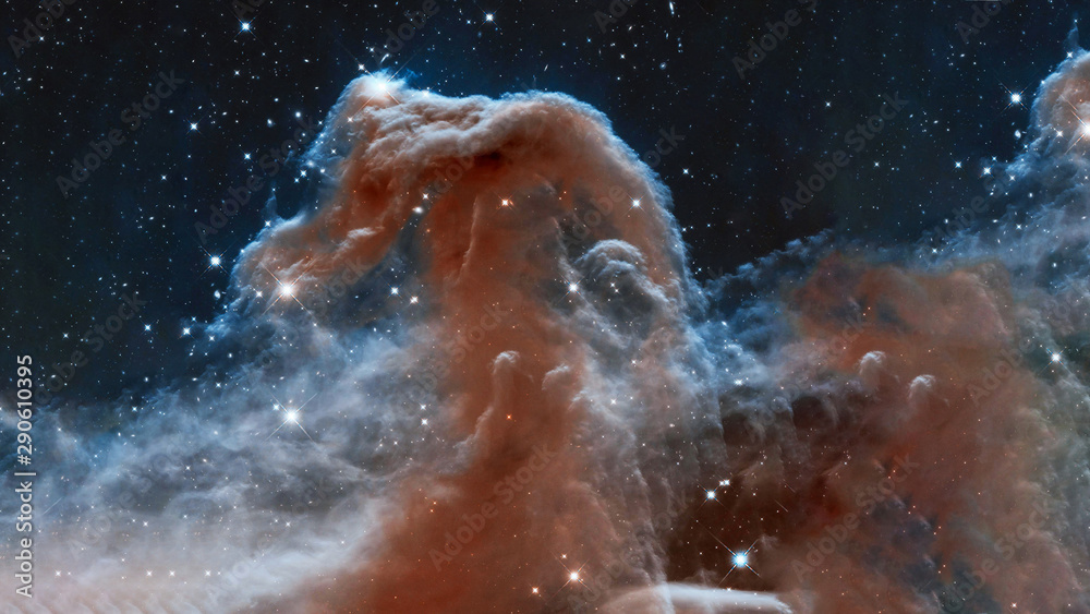 Fototapety, obrazy: The Horsehead Nebula upper ridge illuminated by Sigma Orionis. Science astronomy concept wallpaper. Elements of this image were furnished by NASA, ESA