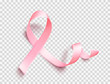 Satin pink ribbon. Realistic medical symbol for national breast cancer awareness month in october. Vector.