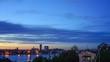 Sunset time laps in Golden horn Bay. Vladivostok, Russia