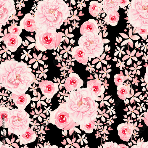 Fototapeten Künstlich Bright colorful seamless pattern with flowers of roses and peony.