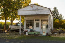 Remains Of An Abandoned Gas Station In Maryhill