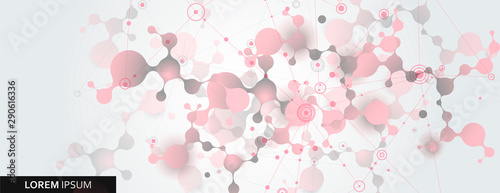 Abstract molecule vector template for biotechnology, energy, medical, science concept. Connection design illustration - 290616336