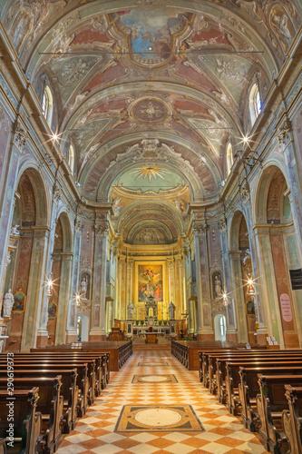 RIVA DEL GARDA, ITALY - JUNE 13, 2019: The nave of church Chiesa di Santa Maria Assunta.