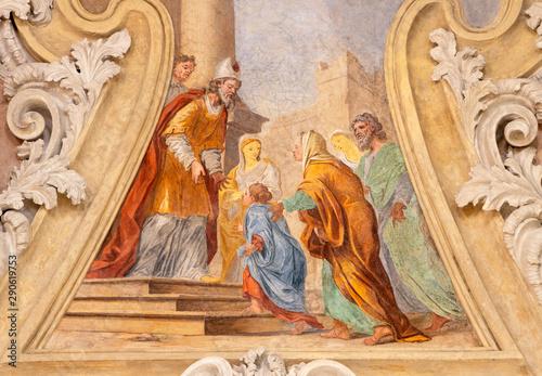RIVA DEL GARDA, ITALY - JUNE 13, 2019: The ceiling fresco of Presentation of Virgin Mary in the Temple in Chiesa di Santa Maria Assunta (Cappella del Suffragio) by Giuseppe Craffonara (19 cent.).