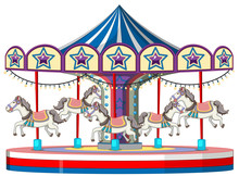 Carousel With White Horse On W...