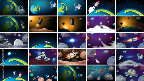 Large set of different space scenes