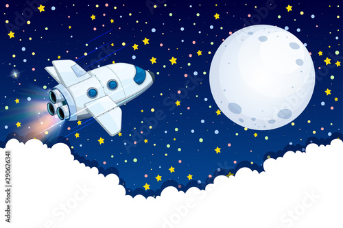 Spaceship flying to the moon