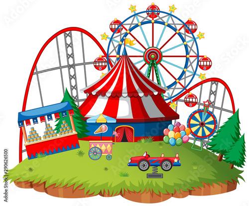 Fun fair theme park on isolated background