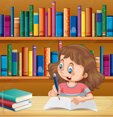 Cute girl writing in notebook in library