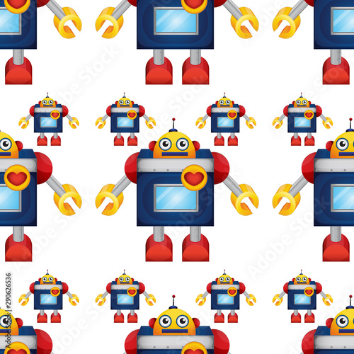 Keuken foto achterwand Kids Seamless pattern tile cartoon with toy robot