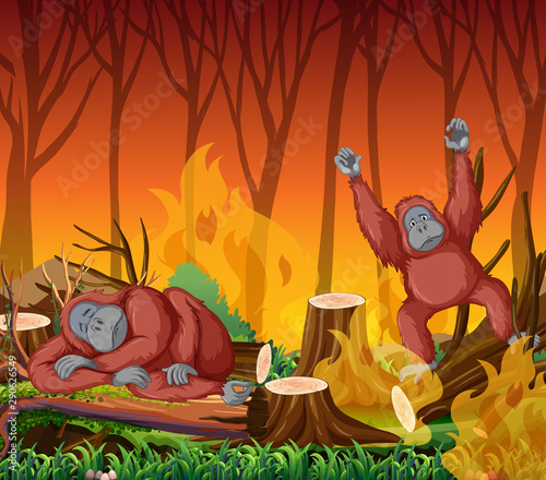 Poster Kids Deforestation scene with monkey and wildfire