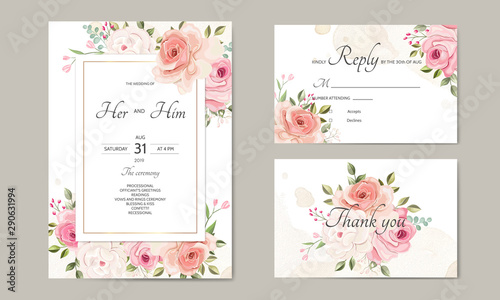 wedding invitation card template set with beautiful floral leaves Wallpaper Mural