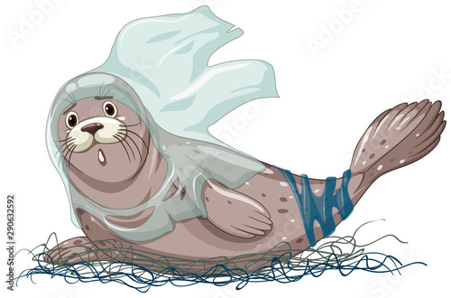 Photo sur Aluminium Jeunes enfants Seal with net and plastic bags