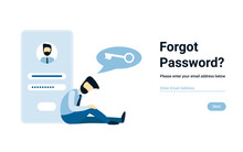 Unhappy Businessman Forgot Account Password. Vector Male Character Design Concept For Business. Illustration For Landing Page, Web, Poster, Banner, Layout, Template.