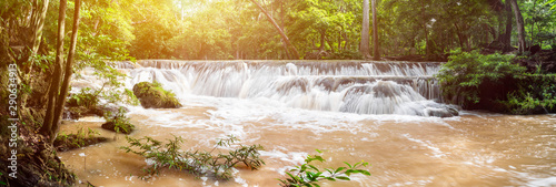 Foto auf Leinwand Wasserfalle Panorama Waterfall in a forest