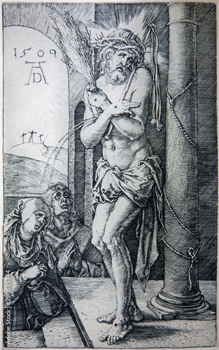 GERMANY - 1928: Lithography of tortured Jesus Christ by Albert Durer. Book
