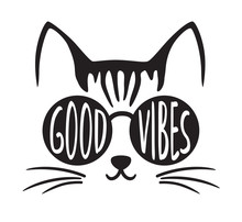 Cute Good Vibes Cat Wearing Su...
