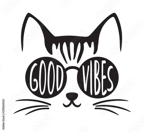 Cute good vibes cat wearing sunglasses vector illustration. Canvas Print