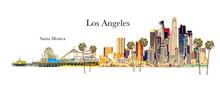 Los Angeles - Santa Monica Illustration- Copy Space