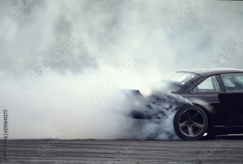 Photographie Smoke drift car, side drift car