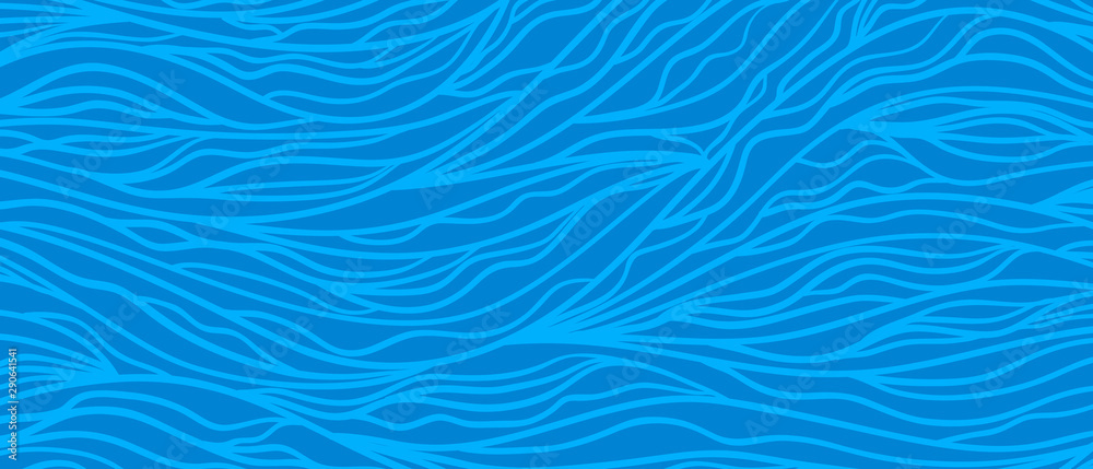 Fototapety, obrazy: Colored wavy background. Hand drawn abstract waves. Stripe texture with many curly lines. Waved pattern. Print for design