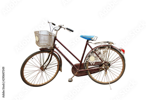 Retro style bicycle isolated on a white background with clipping path.