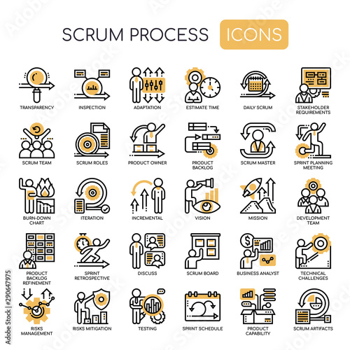 Scrum Process , Thin Line and Pixel Perfect Icons Wallpaper Mural