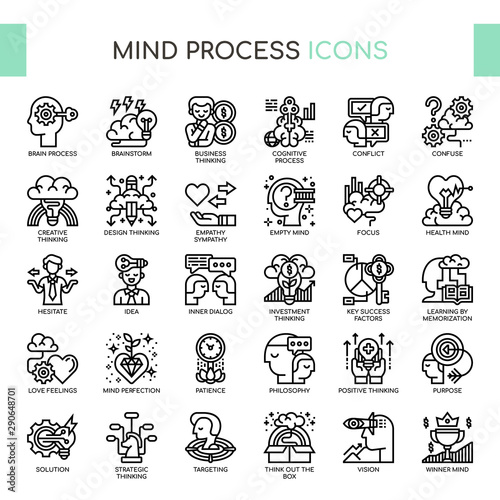 Obraz Mind Process , Thin Line and Pixel Perfect Icons - fototapety do salonu