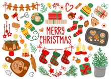Merry Christmas Card. Vector Cartoon Set With Ginger Bread And Decorations