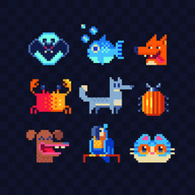 Funny Animals Character Set, Bat, Crab, Fish, Cat, Parrot, Fox, Bug And Dog. Pixel Art 80s Style Icons. Design For Stickers, Logo And Mobile App. Video Game Assets Sprite Sheet. Isolated Vector.