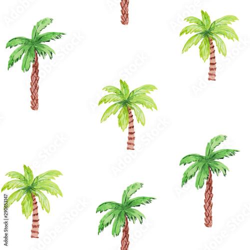 bezszwowy-wzor-z-drzewkami-palmowymi-na-bialym-tle-recznie-rysunek-akwarela-do-wydrukow-plakatow-szablonow-kart