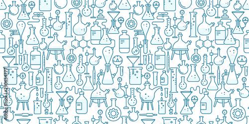 Fotomural  Chemistry flask beaker equipment seamless pattern background