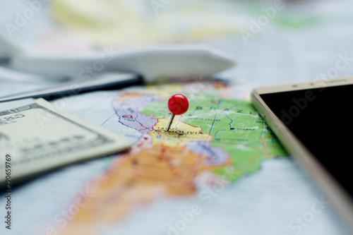 Fototapeta Traveler's accessories for holiday concept. obraz na płótnie