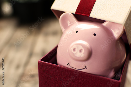 Cuadros en Lienzo  Piggy bank in the gift box celebration on holiday concept.